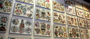 horizontal picture of tattoo flash by J Wood