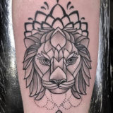linework lion tattoo