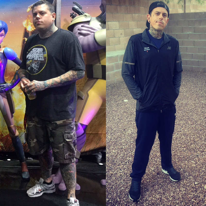 A Studio 21 Tattoo tattoo artist depicting his before and after photos, losing 80 lb.