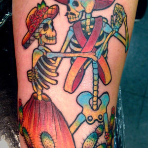 dia de los muertos skeleton couple tattoo