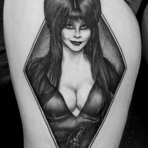 elvira black and grey tattoo