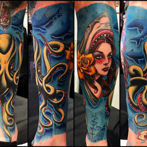octopus shark female portrait tattoo