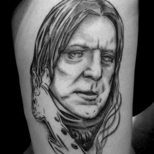 snape black and grey portrait