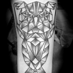 geometric tattoo in black and grey