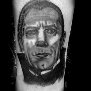 dracula black and grey portrait tattoo by nick bones at studio 21 tattoo gallery