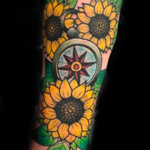 sunflower compass color tattoo