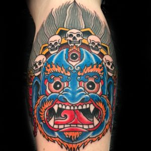hannya mask color tattoo