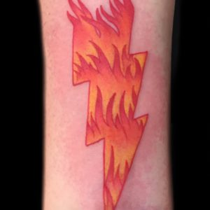 lightening bolt with flames tattoo