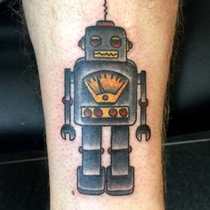 robot color tattoo on arm