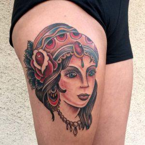 gypsy traditional style tattoo