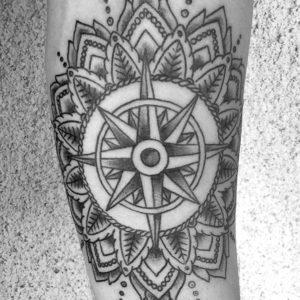 mandala black and grey tattoo