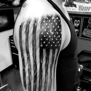 black and grey flag tattoo