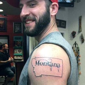 montana linework tattoo with montana type