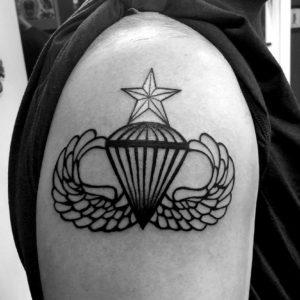 patriotic airborne black and grey tattoo