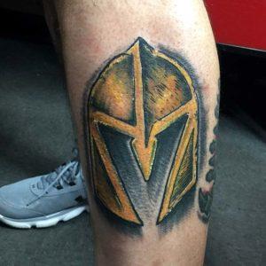 las vegas golden knights tattoo on leg