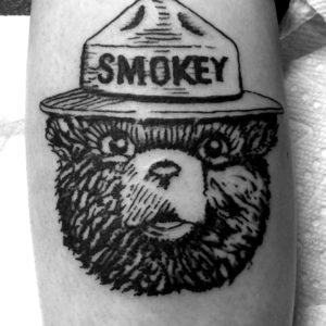 smokey the bandit linework tattoo