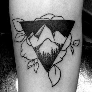 black and grey mountain tattoo
