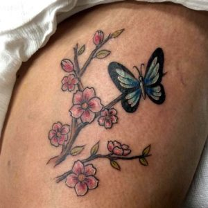 floral butterfly tattoo