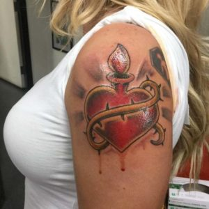 traditional sacred heart tattoo