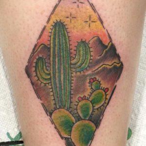 cactus landscape tattoo