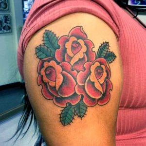 traditional 3 rose tattoo