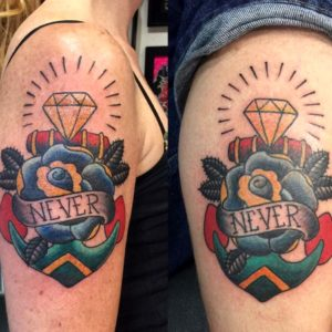 traditional rose anchor tattoos