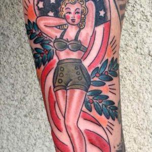 patriotic pin up tattoo
