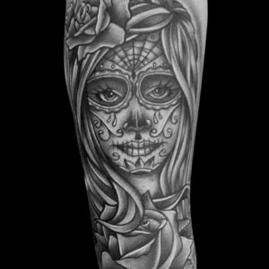 black and grey day of dead tattoo