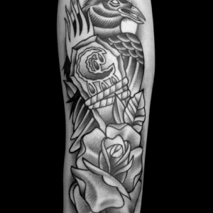 black and grey crown eagle with coffin tattoo
