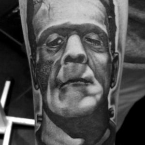 frankenstien black and grey tattoo portrait