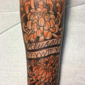 orange mums tattoo