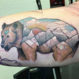 geometric bear watercolor tattoo