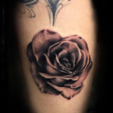 black & grey rose tattoo
