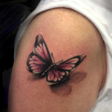 3D butterfly tattoo on the arm