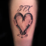 fishhook heart tattoo