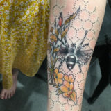 honeybee and flowers tattoo