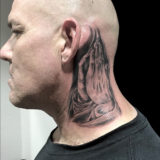 black and grey praying hands on neck tattoo