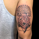 black and grey wolf head tattoo