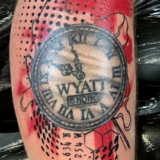 polka trash watch tattoo