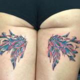fractal watercolor wing tattoo