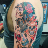 gypsy head with fan tattoo