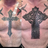 irish cross cover up tattoo