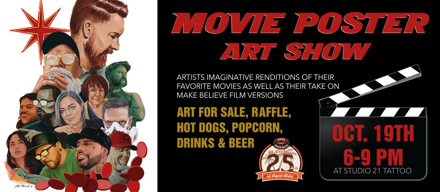 movie poster art show at studio 21 tattoo