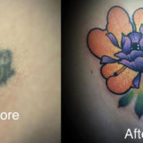 before and after orange flower tattoo