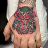 hannya mask hand tattoo