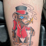 smoking monkey tattoo