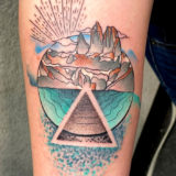 mountain watercolor tattoo