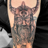 black and grey viking tattoo