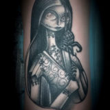 black and grey tim burton sally tattoo