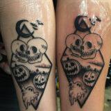 black and grey halloween tattoo